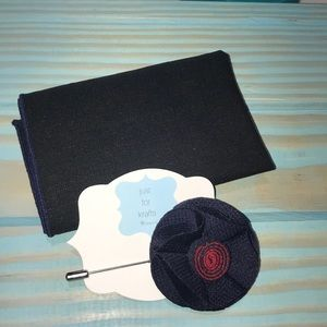 Men's pocket square and lapel pin